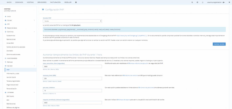 Modificar configuración de PHP con php.ini | dinahosting