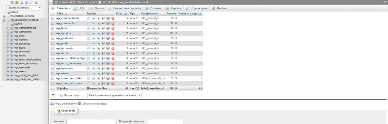 phpMyAdmin apartado para gestionar bases de datos