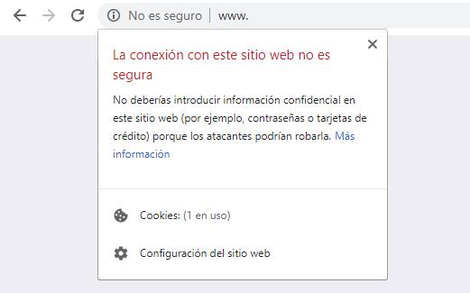 Chrome - sitio no seguro