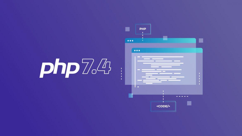 logotipo PHP 7.4 con esquema ventanas web