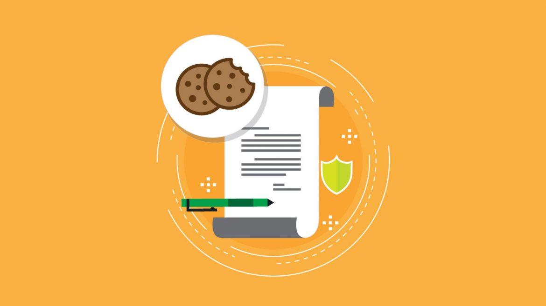 Gráfico con papel y galletas representando la Ley de Cookies