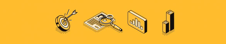 iconos de herramientas de medición y marketing