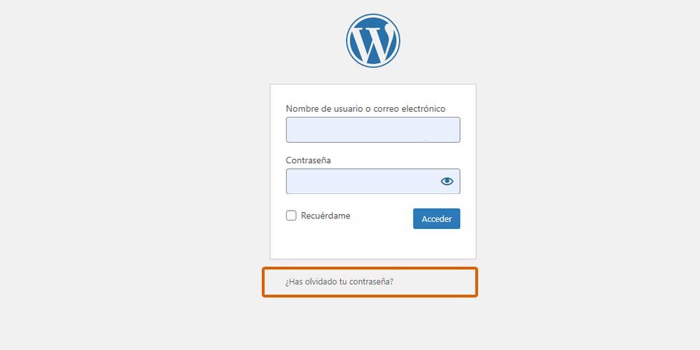 Captura del login de acceso a WordPress y del enlace para recuperar contraseña
