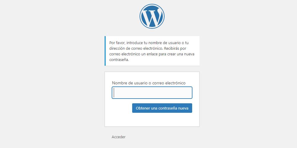 Captura de la pantalla para recuperar la contraseña en WordPress