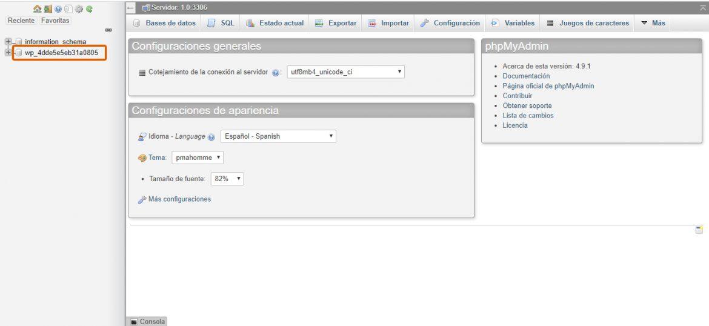 Captura de la interfaz de phpMyAdmin.