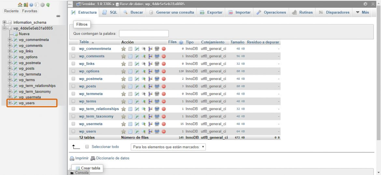 Captura de las categorías de phpMyAdmin.