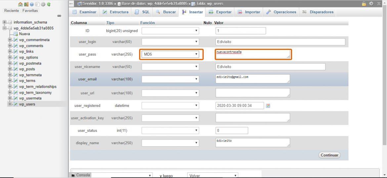 Captura de la interfaz para cambiar la contraseña en phpMyAdmin