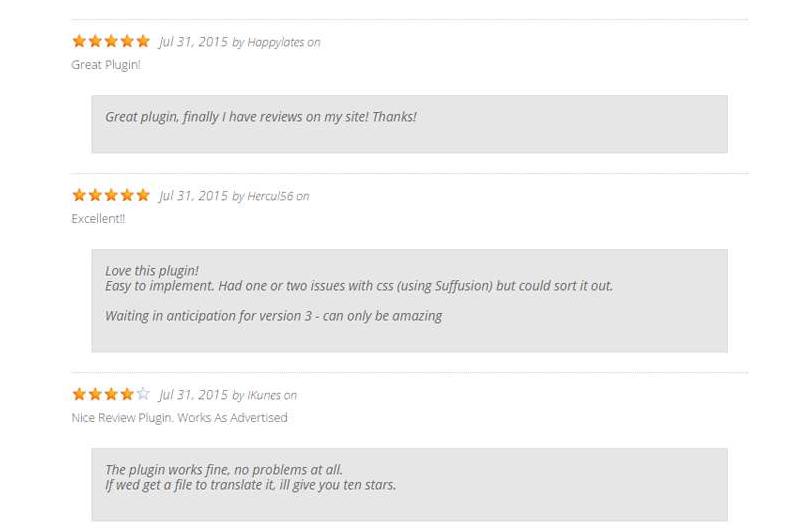 Apariencia plugin WP Customer Reviews