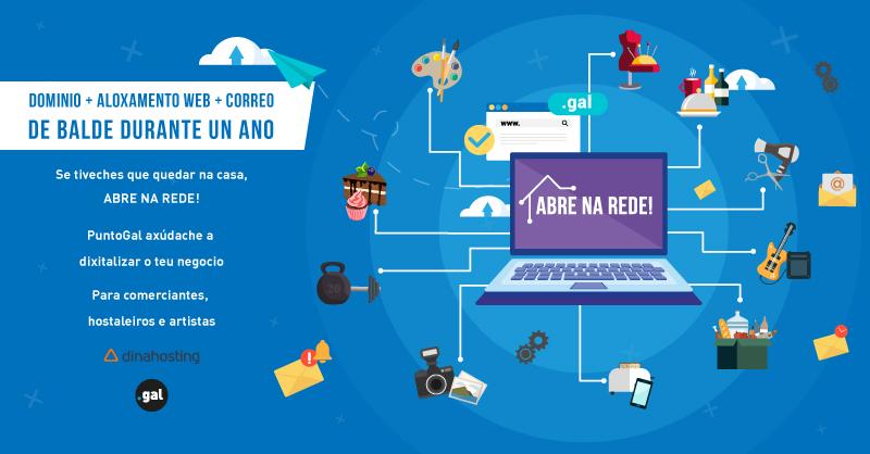 """Promoción """"Abre na rede"""" de dinahosting y PuntoGal para abrir un negocio online"""
