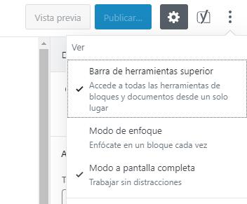 Activación de modo a pantalla completa en WordPress 5.4