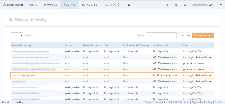 Panel de Control de dinahosting, sección Hosting WordPress