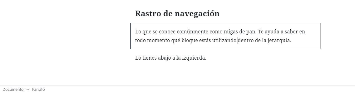 Rastro de navegación en WordPress 5.4