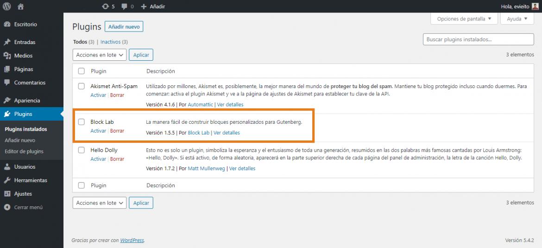Activación del plugin Blocklab para crear tus bloques personalizados en Gutenberg (WordPress)   dinahosting