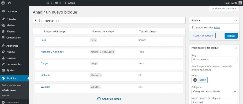 Uso del plugin Blocklab para crear bloques personalizados en Gutenberg (WordPress)   dinahosting