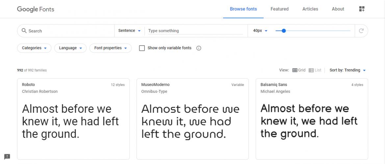 Recursos gratis en diseño web: Google fonts