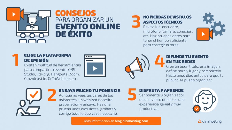 Inofgrafía consejos para organizar un evento online