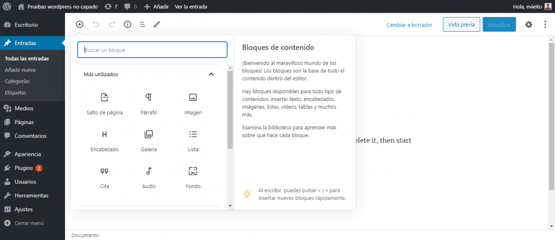 Vista del editor de bloques de Gutenberg en WordPress   dinahosting