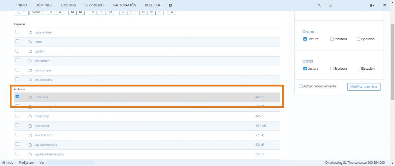 Archivo .htaccess dentro del Panel de Control de tu página web en WordPress.