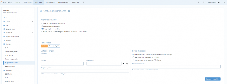 Herramienta para migrar archivos web a dinahosting