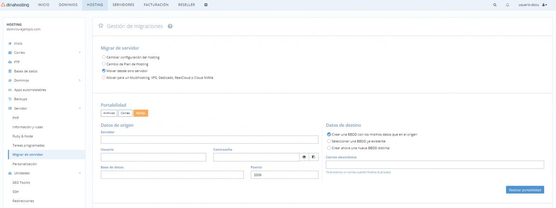 Migración de base de datos de una web a dinahosting