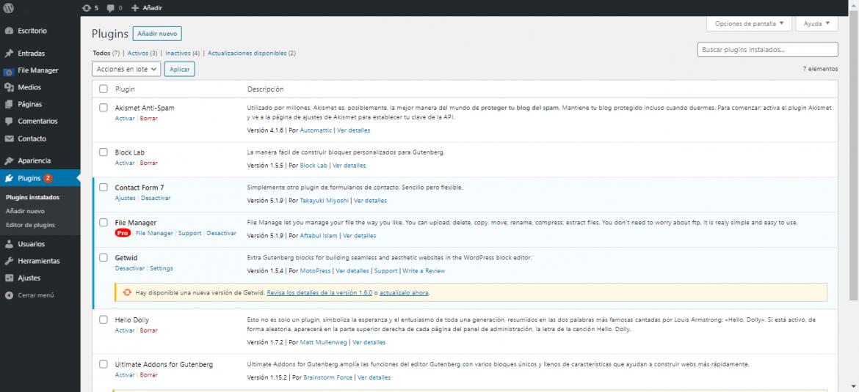 Panel de control de WordPress, sección de plugins