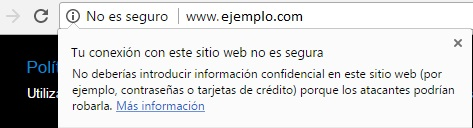 Aviso sobre una web insegura con HTTP