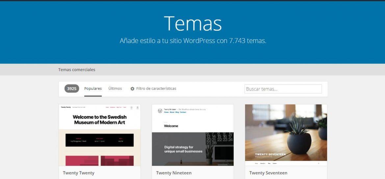 Qué es WordPress vista de temas