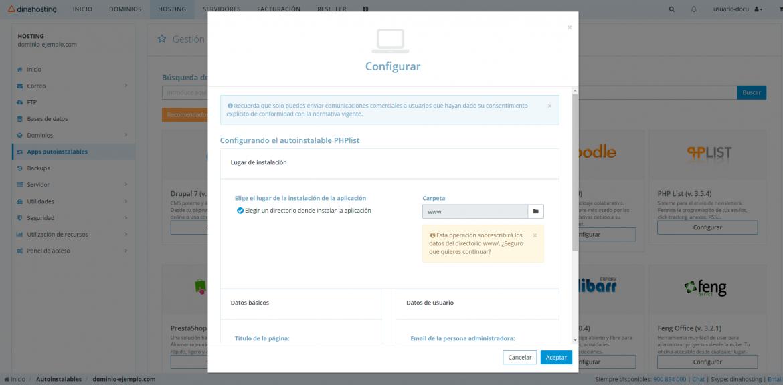 Configurar phpList
