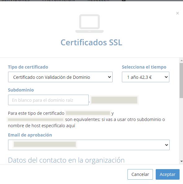 Panel dinahosting contratar certificado SSL