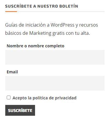 textos legales web formulario