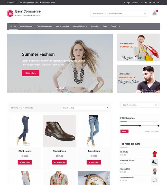 Tema gratis para WooCommerce Easy Commerce