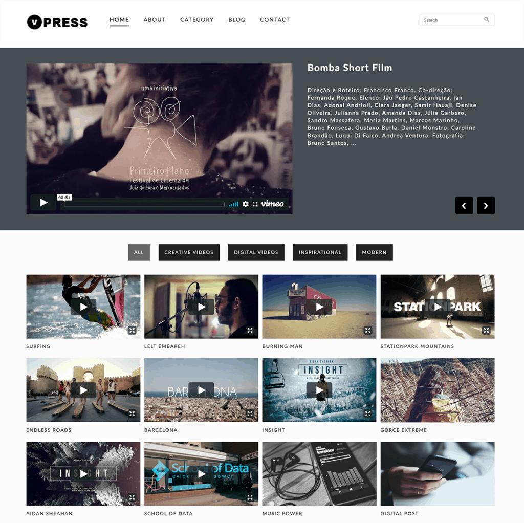 Interfaz tema VPress Video Theme