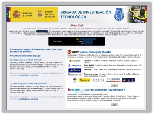Ejemplo de Ransomware: virus de la Policía