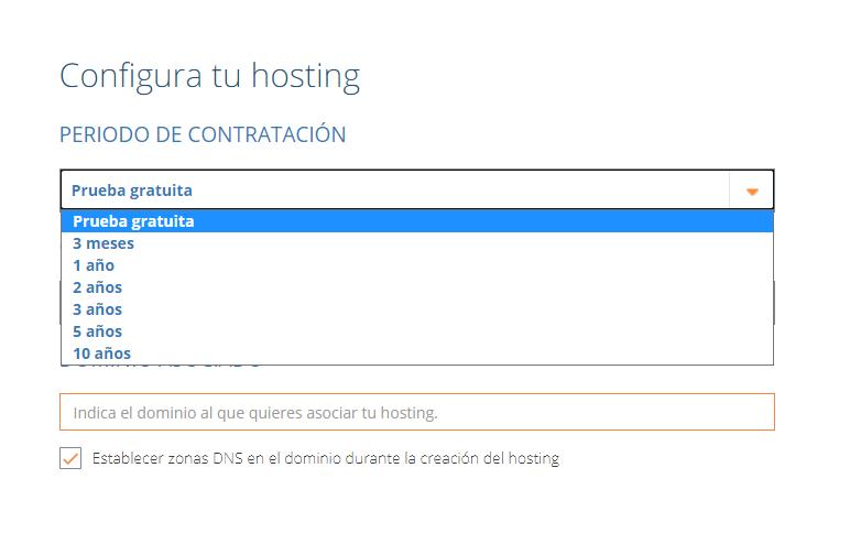 Configurador de hosting de dinahosting. Prueba gratuita