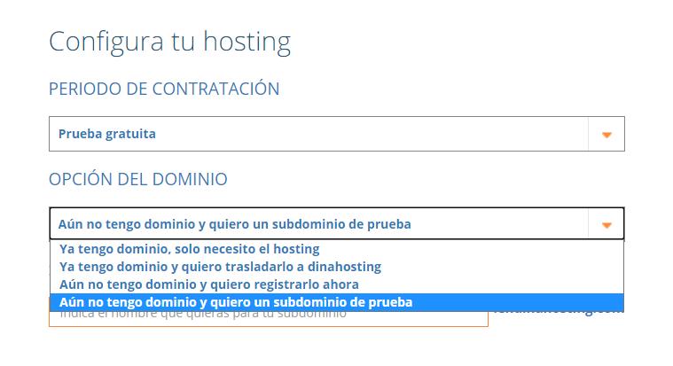 Configurador de hosting de dinahosting. Subdominio de prueba en hosting en pruebas