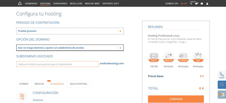 Prueba gratuita de hosting y dominio en dinahosting para crear una página web