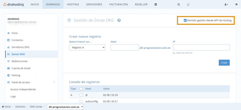 Panel de Control de dinahosting. Gestión de DNS
