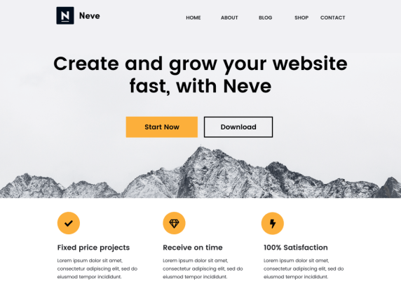 Tema Neve WordPress, plantillas gratis