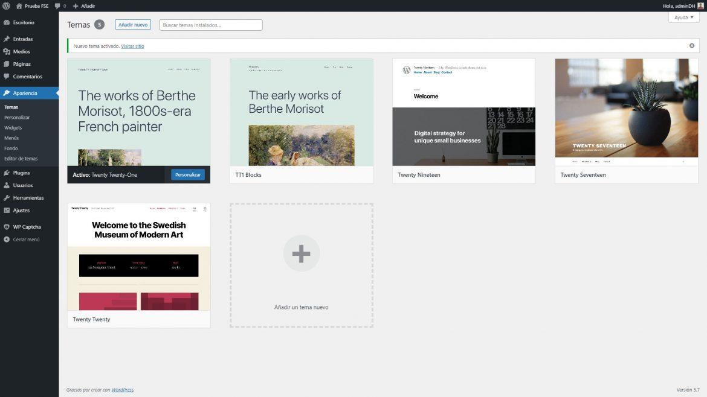 Menú Apariencia de WordPress