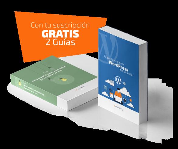 Suscríbete a la newsletter dinahosting y llévate gratis dos guías: una de Iniciación a WordPress y otra de Recursos de Marketing.