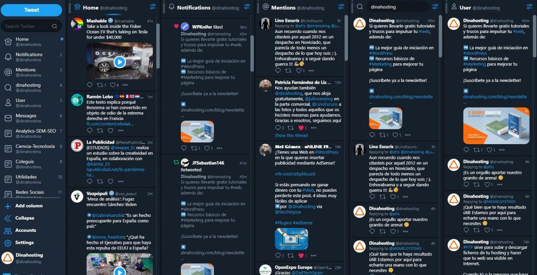 Vista previa de Tweet Deck