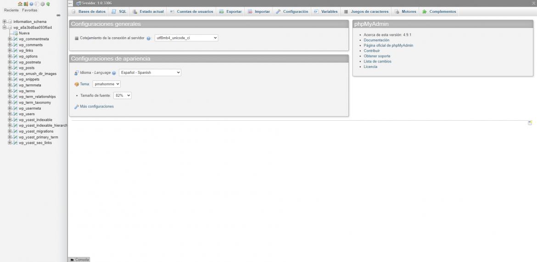 phpmyadmin para aumentar la seguridad en WordPress
