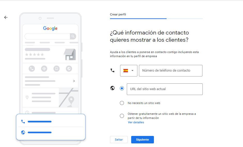 Medios de contacto ficha Google My Business