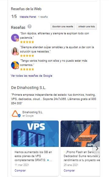 Ficha de dinahosting en Google My Business