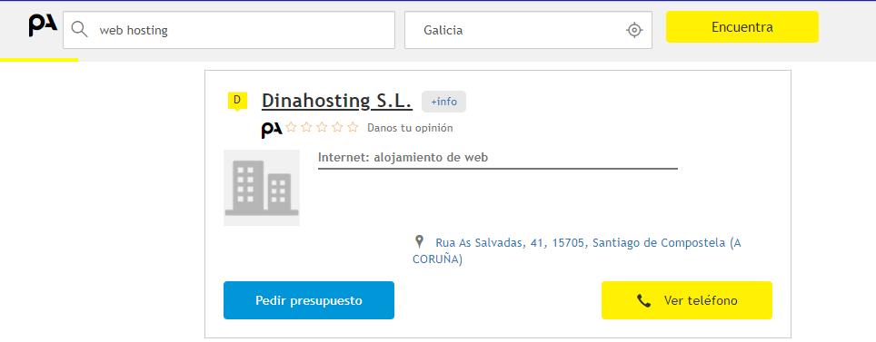 Ficha Páginas Amarillas dinahosting