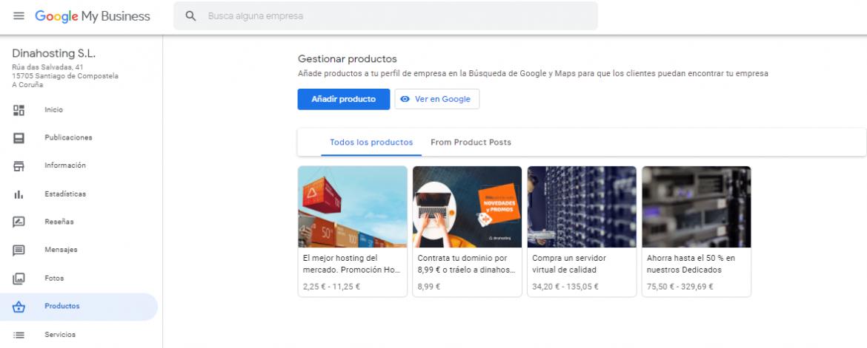 Ejemplo de promociones en Google My Business