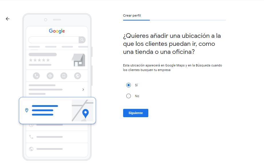 Añadir ubicación en Google My Business