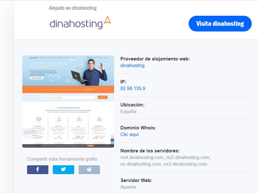 cómo saber el hosting de una web, hostadvice