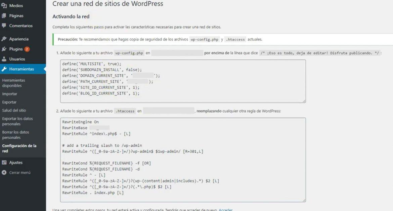 Multisite de WordPress, editar archivos wp-config y .htaccess