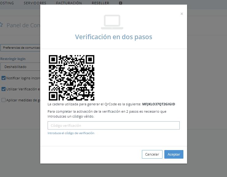 Verificación en 2 pasos Panel dinahosting